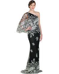Badgley Mischka Caviar Drop One-Sleeve Evening Gown black - Lyst