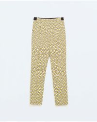 Zara Geometric Patterned Trousers with Combination Waistband - Lyst