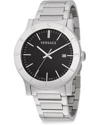 Versace Acron Stainless Steel Black Dial Watch - Lyst