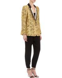 Stella McCartney Snakeskin-print Metallic Twill Tuxedo Jacket - Lyst