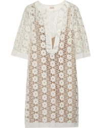 Collette by Collette Dinnigan | Sateen-Trimmed Lace Mini Dress | Lyst
