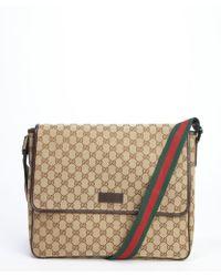 Gucci Brown Gg Canvas Web Stripe Messenger Bag - Lyst