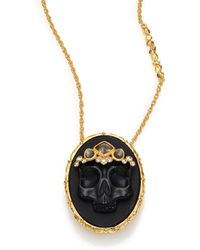 Alexis Bittar Elements Muse D'Ore Black Agate, Pyrite & Crystal Skull Cameo Pendant Necklace - Lyst