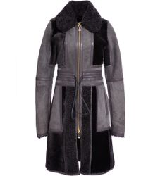J. Mendel Shearling Coat with Leather Strapping Detail - Lyst
