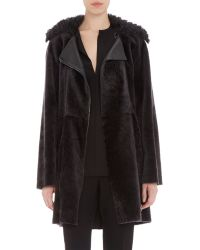 Lanvin Belted Shearling Coat gray - Lyst