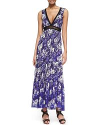 Jean Paul Gaultier Printed Lace-Inset Tiered Maxi Dress - Lyst