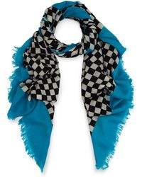 Marc By Marc Jacobs - Turquoise Clever Check Wool Scarf - Lyst