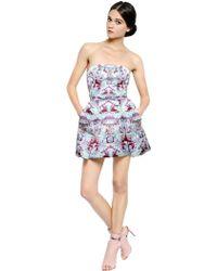 Mary Katrantzou Strapless Rose Lake Printed Satin Dress - Lyst