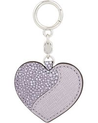 MICHAEL Michael Kors - Leather Heart Charm Keyring - Lyst
