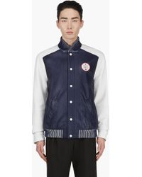 Originals x Opening Ceremony Navy Leather Colorblock Varsity Jacket - Lyst