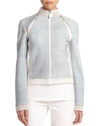 Elie Tahari Suella Leather & Mesh Jacket - Lyst