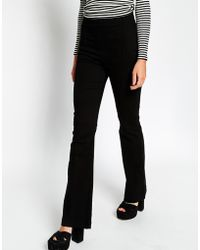 Asos High Waisted Structured Flare Trousers black - Lyst