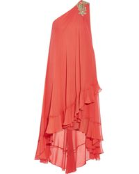 Notte By Marchesa Embellished Silk-chiffon Midi Dress - Lyst