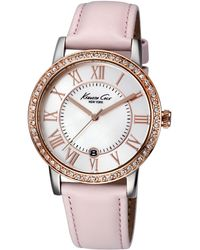 Kenneth Cole - Ladies Crystallized Rose Goldtone Watch with Leather Strap - Lyst