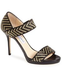Jimmy Choo 'Alana' Woven Strap Sandal - Lyst