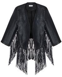 Pixie Market Trip Out Fringe Leather Jacket black - Lyst