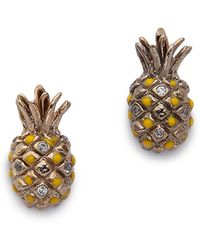 Tai - Pineapple Earrings - Gold/clear - Lyst