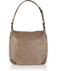 Balmain Studded Brushed Suede Shoulder Bag - Lyst