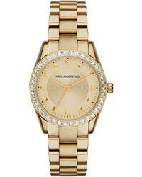 Karl Lagerfeld Ladies Gold Tone Petite Stud Watch - Lyst