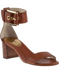 MICHAEL Michael Kors Calder Ankle Strap Sandal Luggage Leather - Lyst