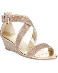 Rampage Karveta Glitter Wedge Sandals gold - Lyst