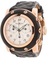 Glam Rock - 46mm Rose Gold Plated Chronograph Watch with Black Matelassé Leather Strap - Lyst