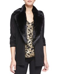 Nanette Lepore Backstage Cardigan with Fur Collar Black X-small - Lyst