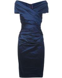 Talbot Runhof Blue Ruched Dress - Lyst