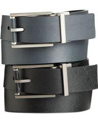Calvin Klein Saffiano Leather Roll Buckle Reversible Belt - Lyst
