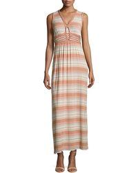 Max Studio Knotdetail Striped Maxi Dress - Lyst