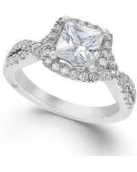 Marchesa Twist Halo By Certified Diamond Engagement Ring In 18K White Gold (1-1/3 Ct. T.W.) white - Lyst