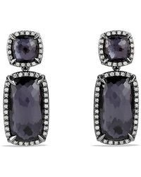 David Yurman Chatelaine Double Drop Earrings with Black Orchid and Gray Diamonds - Lyst