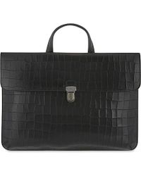 Mulberry - Farringdon Croc-embossed Leather Briefcase - Lyst
