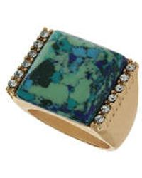 TOPSHOP - Square Semi Precious And Stone Ring - Lyst