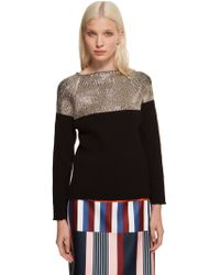 Suno Crinkly Raglan Sweater with Foil - Lyst