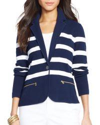 Ralph Lauren Lauren Stripe Knit Blazer - Lyst
