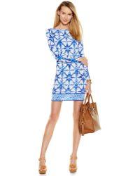 Michael Kors Michael Petite Tile-Print Sheath Dress blue - Lyst