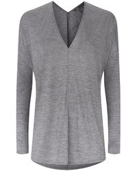 Vince Double V-neck Top - Lyst
