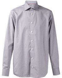 Eton Gray Checked Shirt - Lyst