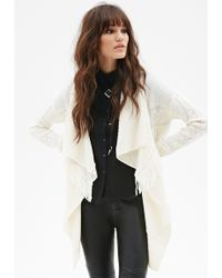 Forever 21 Cable Knit Fringe Cardigan - Lyst