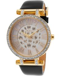 Thierry Mugler Womens Black Genuine Leather White Crystal Encrusted Dial - Lyst