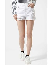 Topshop Moto White Denim Shorts white - Lyst