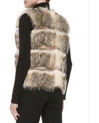Sofia Cashmere - Striped Badger Fur Vest - Lyst