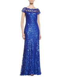 Tadashi Shoji Cap-Sleeve Sequined Lace Gown - Lyst