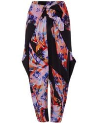 Clover Canyon Black Floral Scarf Print Tie Waist Trousers - Lyst