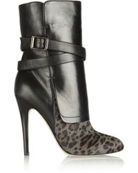 Jimmy Choo Leopardprint Calf Hair and Nappa Leather Ankle Boots - Lyst