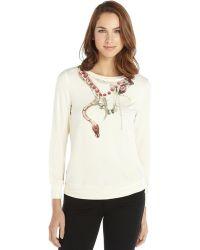 Haute Hippie Cream Stretch Snake Graphic Crewneck Sweater - Lyst