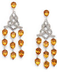 John Hardy | Classic Chain Citrine, Diamond & Sterling Silver Chandelier Earrings | Lyst