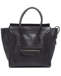 Celine Preowned Black Calfskin Micro Luggage Tote Bag - Lyst