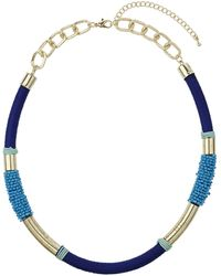 Topshop Blue Bead and Wrap Collar - Lyst